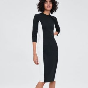 Zara Large Black White Colorblock Bodycon Dress